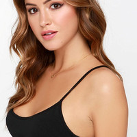 Black Cropped Top with Criss Cross Side