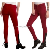 Licensed cool TRIPP NYC JOAN JETT RED Lace Up Corset Leather STRETCH SKINNY JEANS PANTS SZ 0