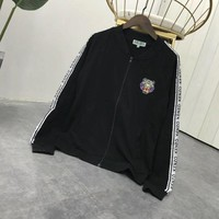 """Kenzo"" Women Sport Casual Embroidery Tiger Head Letter Webbing Long Sleeve Zip Cardigan Baseball Uniform Coat"