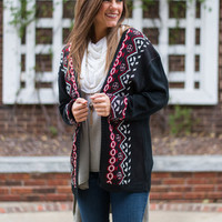 Round The Way Cardigan, Black-Red