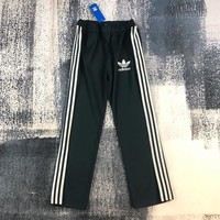 """Adidas"" Unisex Fashion Stripe Webbing Wide Leg Straight Pants Sweatpants Couple Leisure Pants Trousers"