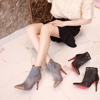 CL Christian Louboutin Women Trending Leather Black High Heel flat Shoes boots Best Quality black grey