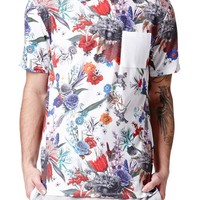 On The Byas Floral Block Crew T-Shirt - Mens Tee - White