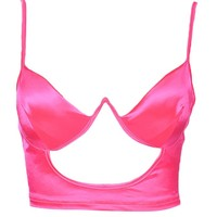 Let's Get It On Satin Sleeveless Spaghetti Strap Underwire Cut Out Crop Top - 2 Colors Available