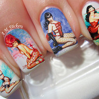 Bettie Page Pin Up Girl Nail Decals