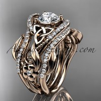 """14kt rose gold diamond celtic trinity knot wedding ring, engagement ring with a """"Forever Brilliant"""" Moissanite center stone and double matching band CT7211S"""