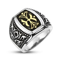 King's Cross – Wide Polished Stainless Steel Signet Design Gold Ornamental Cross Ring