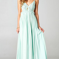 BLOSSOMING CROCHETED BACKLESS MAXI DRESS - PASTEL MINT