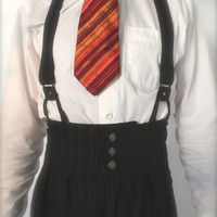1920's high waisted mens pants black pinstripe, oxford bags for men, vintage style college pants, retro menswear