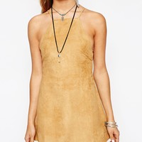 Motel Faux Suede Winnie Dress with Low Back