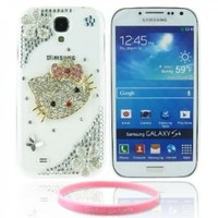 Lovely Pink Crystal Rhinestones Bow Hello Kitty Flower Transparent Back Hard Case Cover for Samsung Galaxy S4 I9500