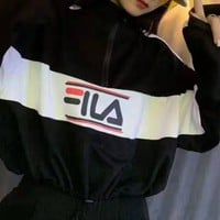 """FILA""Woman's Leisure Fashion Letter Zipper Printing Spell Color Hooded Long Sleeve Tops"