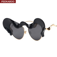 Peekaboo 2017 limited edition sunglasses cat eye woman luxury alloy fashion vintage sunglasses for party funny ladies pink black