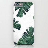 Banana Leaf Watercolor Pattern #society6 iPhone & iPod Case by 83oranges.com