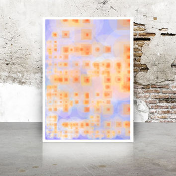 Apricot and Blue Abstract Art Generative Dividing Bubbles and Boxes, Giclee print, geeky wall art. Limited Edition growthBoxes_9k