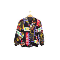 vintage asian print bomber jacket - elephants - floral - indian - shiva - wild pattern