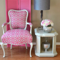 Louis Style Arm Chair Upholstered in Pink