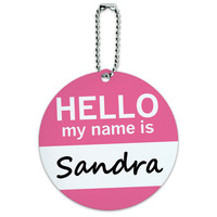 Sandra Hello My Name Is Round ID Card Luggage Tag
