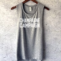 Champagne Campaign Muscle Tank Top in Heather Grey