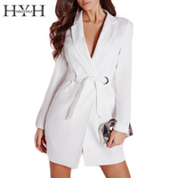 Women Dress Vestidos Solid White High Waist Casual Slim Dresses Sexy Plunge Neck Elegant Blazer Mini Dress