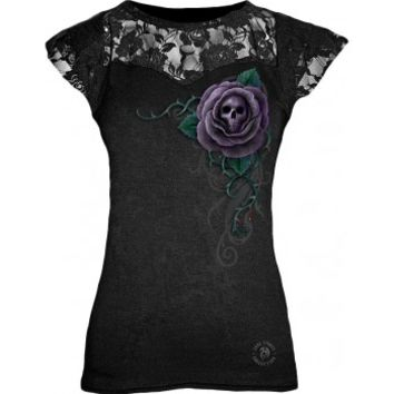 Black gothic lace shirt for women, with rose and skull print