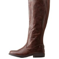 Brown Gored Flat Riding Boots by Charlotte Russe