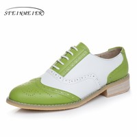 Genuine leather shoes women US size 11 handmade red blue white 2017 sping vintage flats British style oxford shoes for women fur
