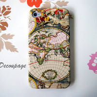 World Map  iPhone 4 Case  iPhone 4s Case  Vintage by AdaFashion