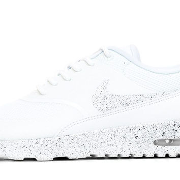 Nike Air Max Thea Running Shoes By Glitter Kicks - Triple White/Black Paint Speckle