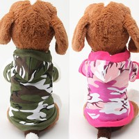 2017 New High Quality Small Pet Camouflage Hoodie Winter Warm Sweatshirt T-shirt Cotton Adidog Blend Clothes Dog Clothes Hoodies