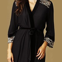 Geneva Black Velvet Knit Robe w/Embroidered Gold Lace (Medium)