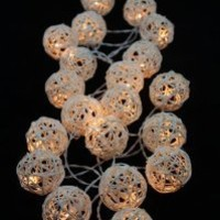 Natural White Set Rattan Ball String Lights Fairy Party Decor Wedding Bedroom Garden Spa and Holiday Lighting