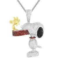 Men's Snoopy Dog Iced Out Bone Plate Custom Pendant Chain