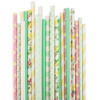 Yellow Mint Floral Paper Straw Assortment