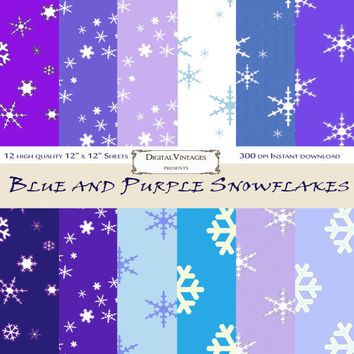 Snowflake Digital Paper, Blue and Purple, digital background paper, Winter, Christmas, Snow, Snowflake, Blues, Purples, Instant, Shabby Chic