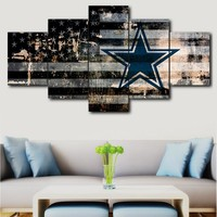 5 pieces of canvas art Dallas Cowboys sport logo decorative canvas wall painting modular picture home decor canvas painting