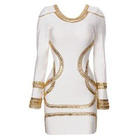 White Long Sleeved Bandage Mini Dress