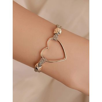 1pc Heart Decor Chain Bracelet