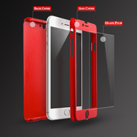 Ultra-Thin 360  All Coverage Protective Cover with Tempered Glass For Apple iPhone 5 5S / SE / 6 6S / 6 6S Plus Phone Case Cover