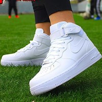 AF1 Air Force NIKE One men and women pure white high-top casual sneakers Optional luminous