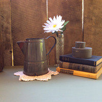 Vintage Grey Enamel Pitcher, Vintage Gray Enamel Pitcher, Country Water Can, Shabby Chic, Repurpose Flower Planter , Flower Pot