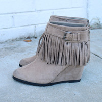 Don't Let Me Down Taupe Wedge Booties With Fringe & Buckle Detail