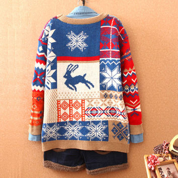 Fashion Deer Snowflakes Sweater Christmas Cardigan