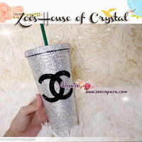 CHRISTMAS SALES - Design Your Christmas Gift - Crystal Strass Cup with favorite Name, Word, Picture or Logo - ZoeCrystal
