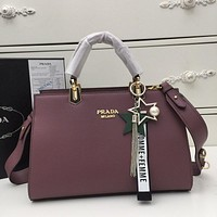 prada women leather shoulder bags satchel tote bag handbag shopping leather tote crossbody 173