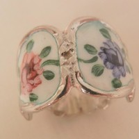 Gorgeous rare Sterling etch work double flower guilloche Ring size 5 Marked Beau Sterling