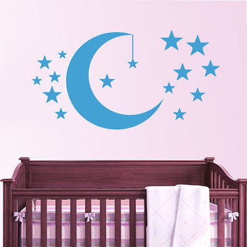 Moon and Stars Wall Decal Vinyl Sticker Crescent Decals Art Home Decor Mural Nursery Moon Star Children Bedroom Baby Room Decor AN670