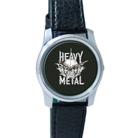Heavy Metal Skull Illustration (White) Wrist Watch