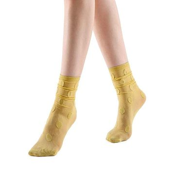 Marella Polka Sheer Mid High Sock | Mustard Yellow