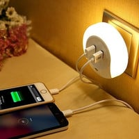 Cool LED Night Light with Dusk to Dawn Sensor and Dual USB Wall Plate Charger